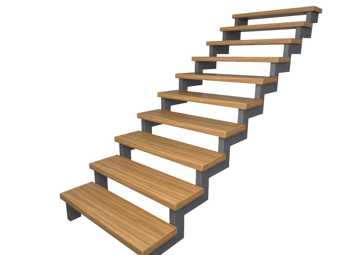 металлический каркас для лестницы из профильных труб 100*50 (80*40)