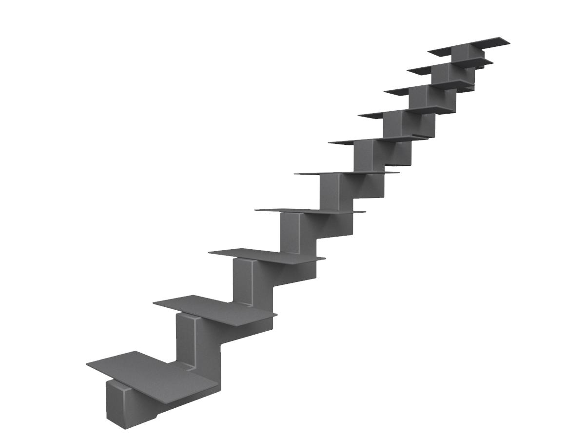 металлический центральный  косоур (каркас) для лестницы из профильной трубы 120*120*4 и опорные пластины 6 мм